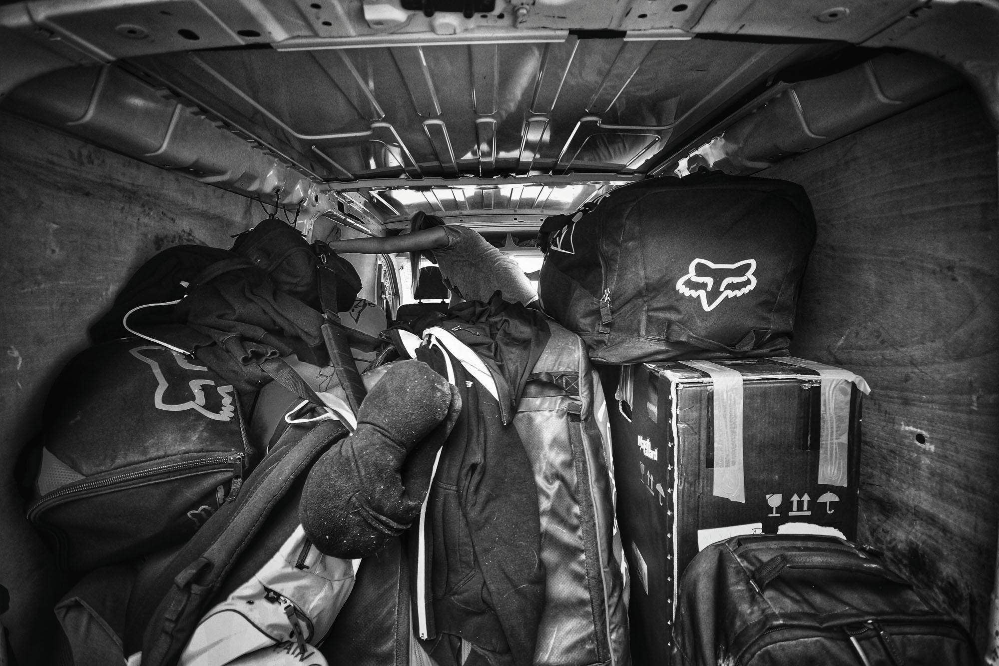 Der FMD Van vollgepackt bis oben hin.