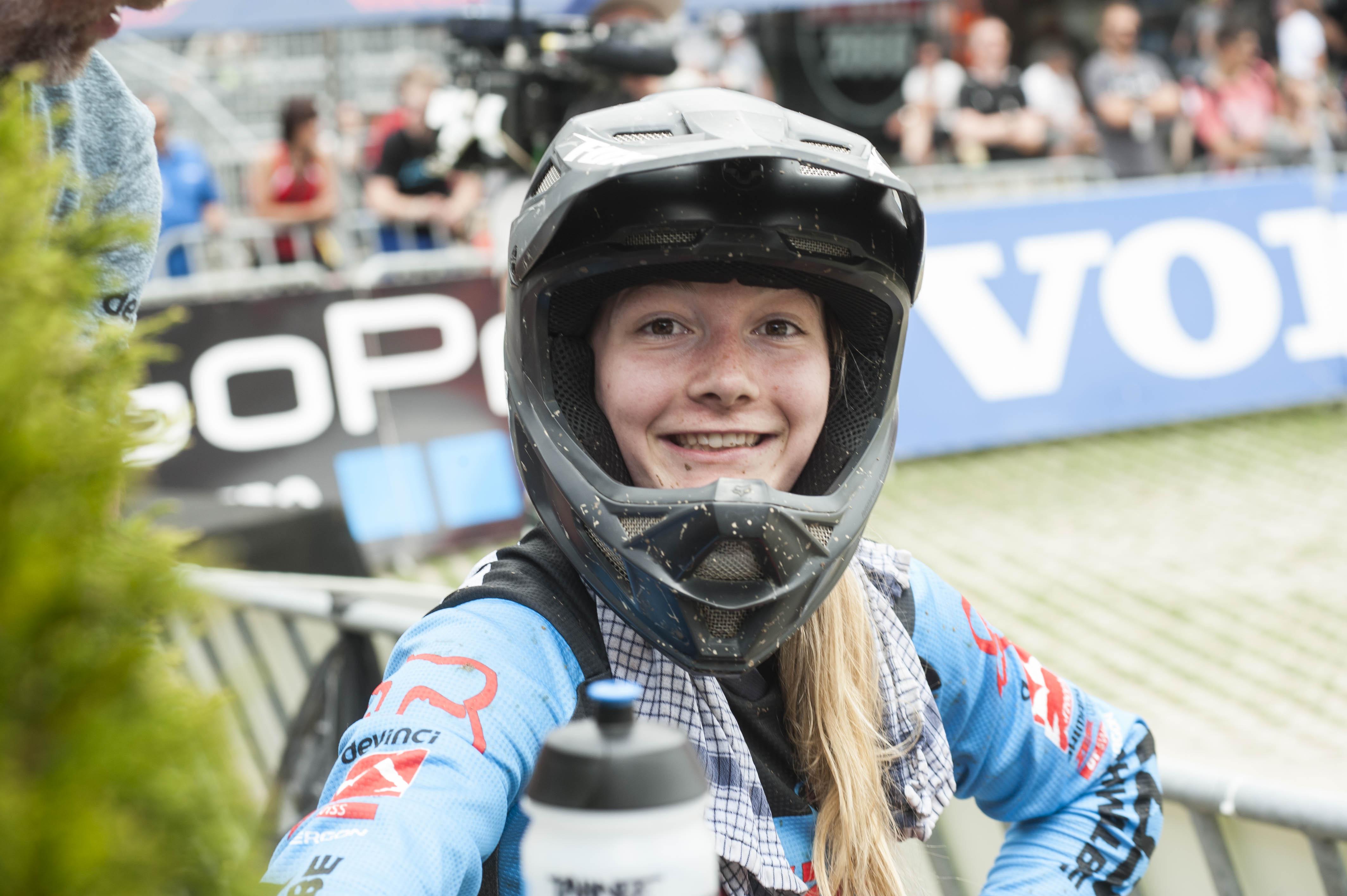 Tahnée Seagrave freut sich über ihren dritten Platz.
