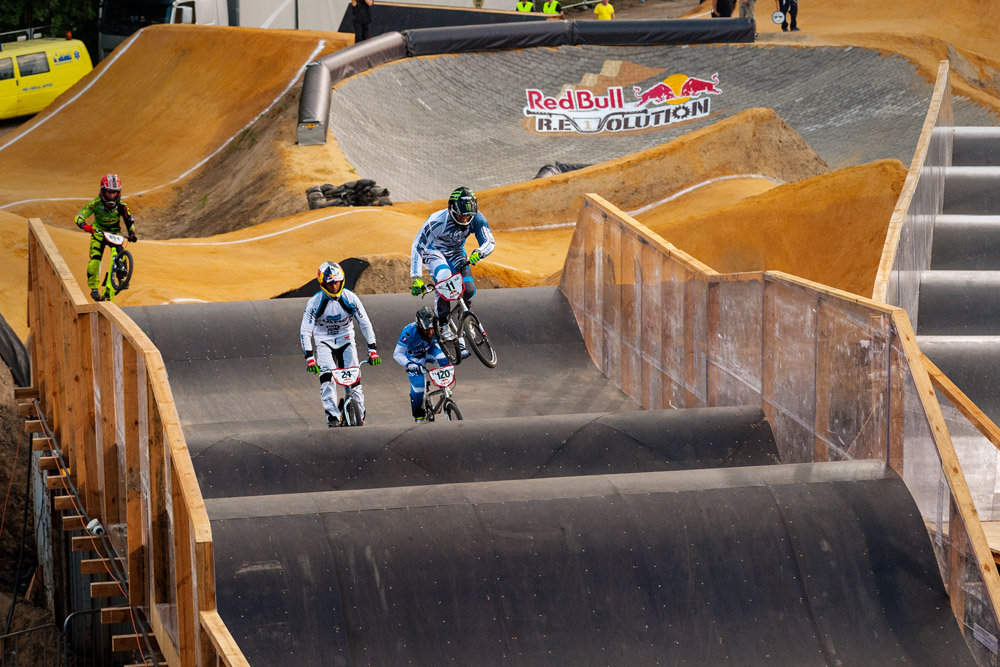 Connor Fields (USA) rides in front of Corben Sharrah (USA), Vincent Pelluard (FRA) and Collin Hudson (USA) during the Red Bull R.Evolution at the Mellowpark in Berlin, Germany on August 17th 2013
