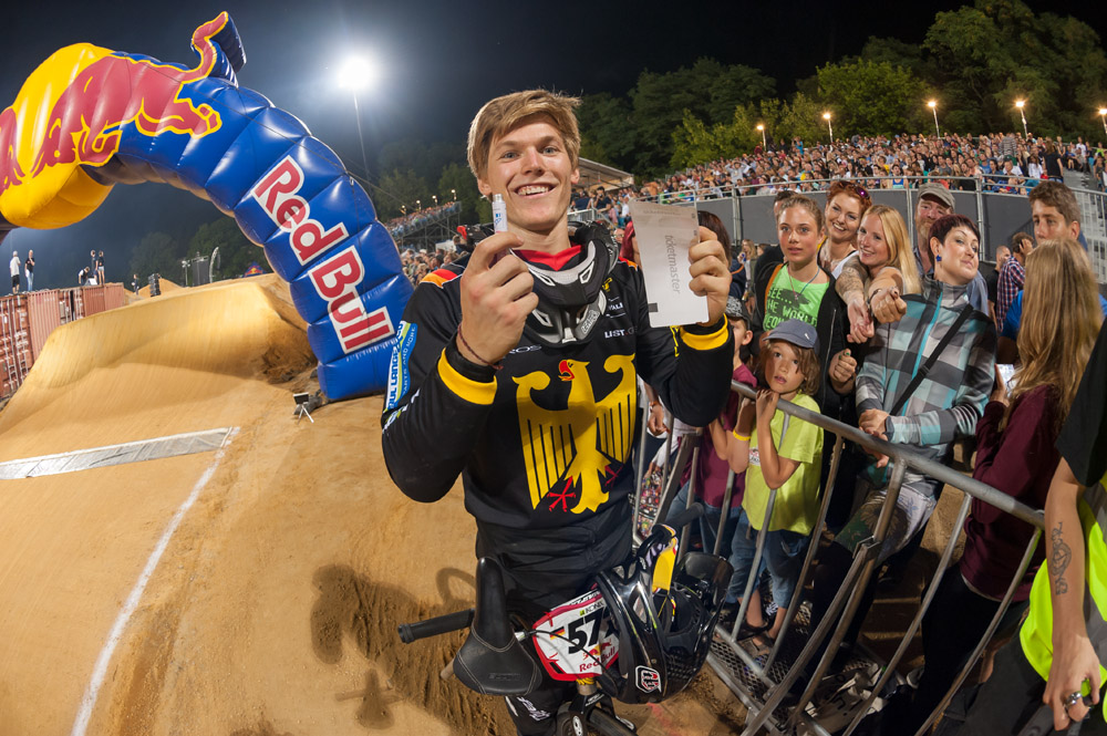 Luis Brethauer signs tickets for fans during the Red Bull R.Evolution at the Mellowpark in Berlin, Germany on August 17th 2013
