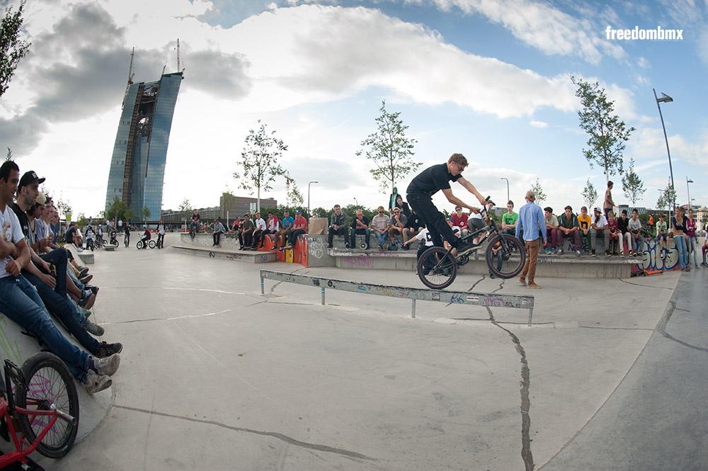 Der Contest im Frankfurter Hafenpark wurde fast ausschließlich in Carlo Hoffmanns Paradedisziplin Flatrail ausgetragen