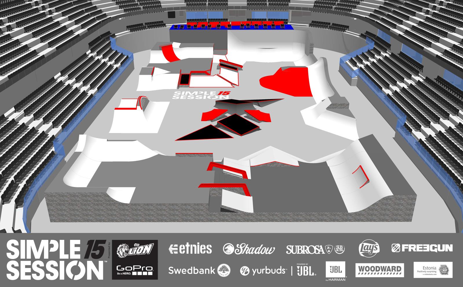 Auch 2015 wurde der Parcours für die Simple Session wieder von der Rampenbaulegende Nate Wessel designt
