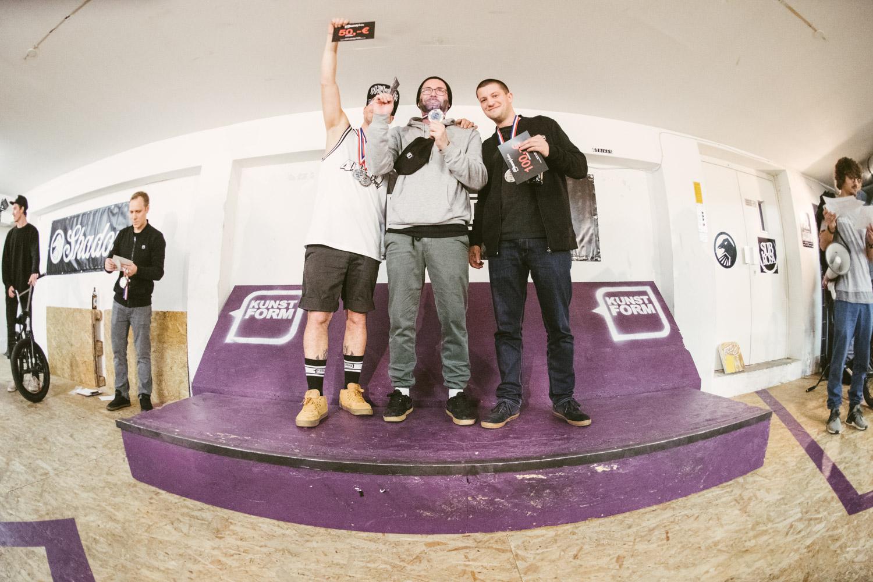GFC (German Flatland Championship) Gesamtwertung Amatuere: 1. Steffen Peter, 2. Benny Hill, 3. Malte Orth