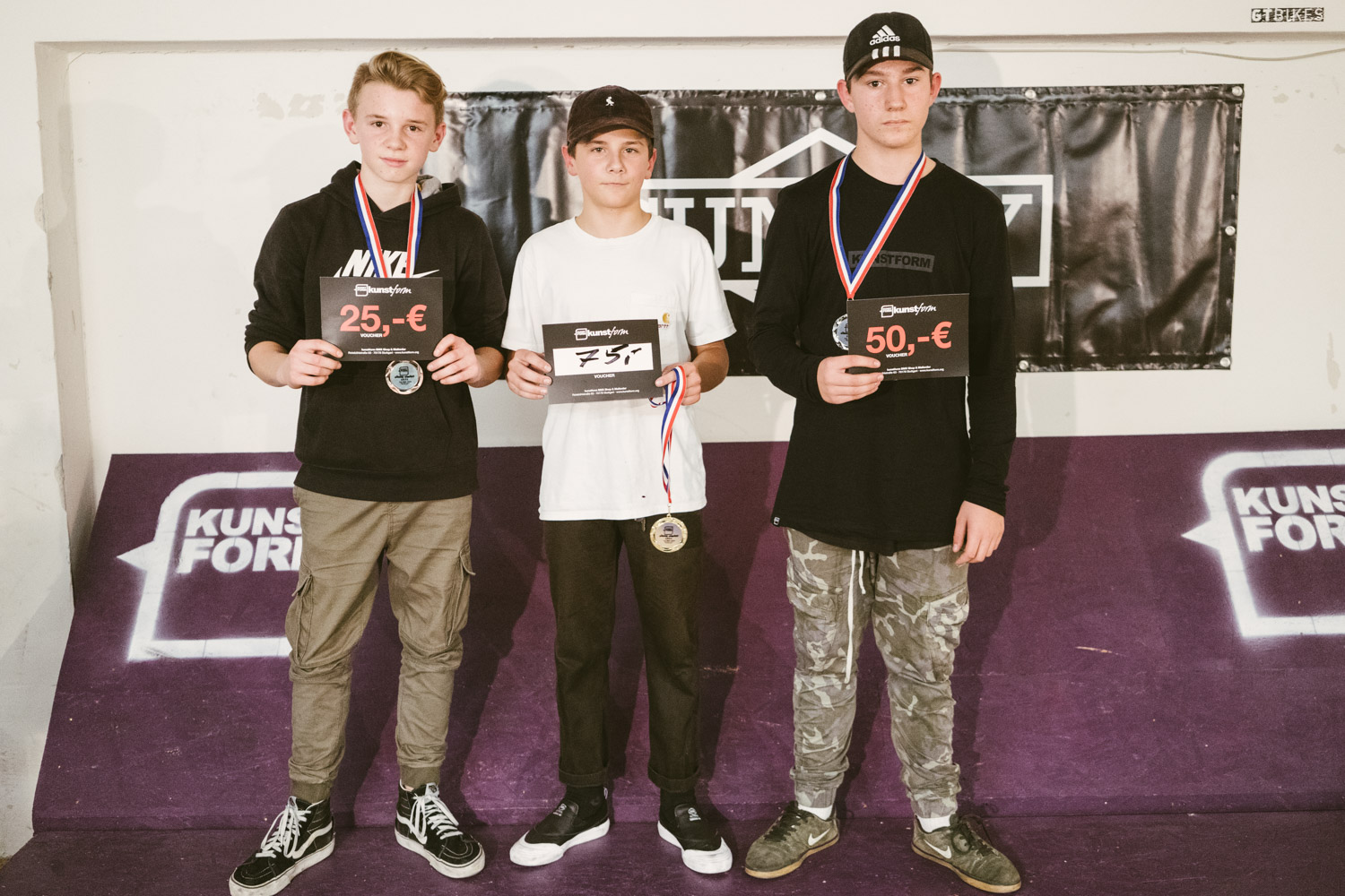 Die Gewinner des Kids Best Trick Contests: 1. Noah Matella, 2. Nikola Drugcevic, 3. Alex Olberg