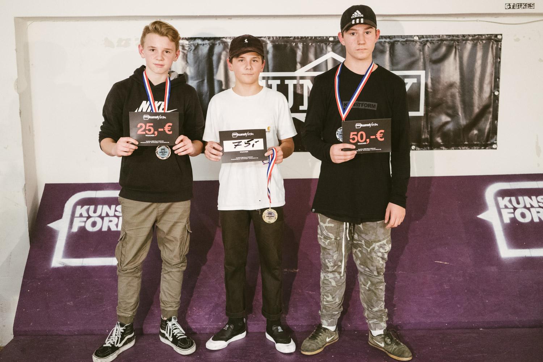 Die Gewinner des Kids Best Trick Contests: 1. Noah Matella, 2. Nikola Drugcevic, 3. Alex Olberg