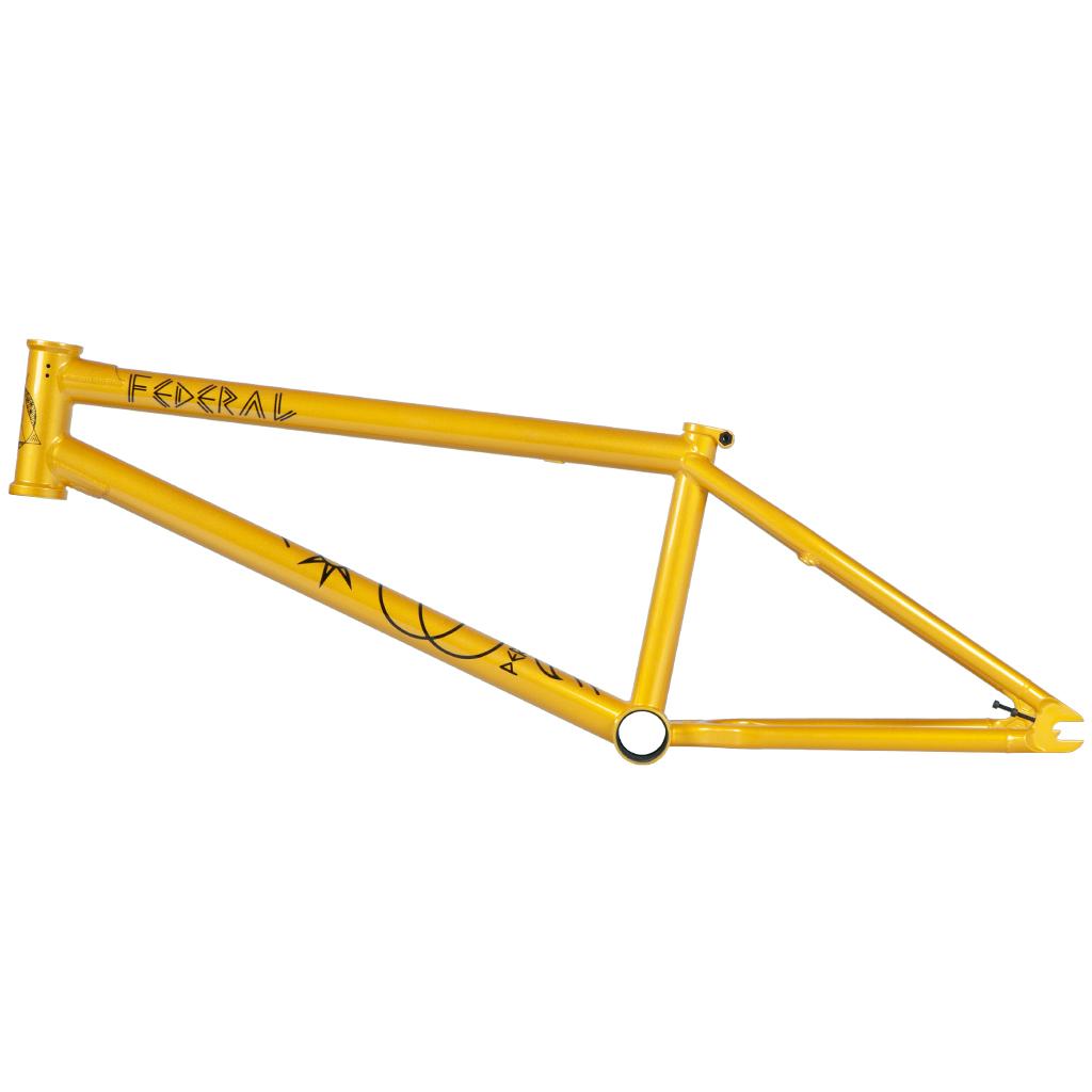 Federal Bikes Anthony Perrin 2020 Signature Frame, jetzt mit neuem ICS2-Wishbone, kleineren Ausfallenende und etwas höherem Steuerkopfrohr (Oberrohrlängen: 20,75 oder 21'' Steuerkopfwinkel: 75.5° Sattelrohrwinkel: 71° Kettenstrebenlänge: 12,9'' (slammed) Tretlagerhöhe: 11,6'' Stand over: 8,9'' Farben: Gloss Gold oder Matt Grey/Purple Gewicht: 2,52 kg)