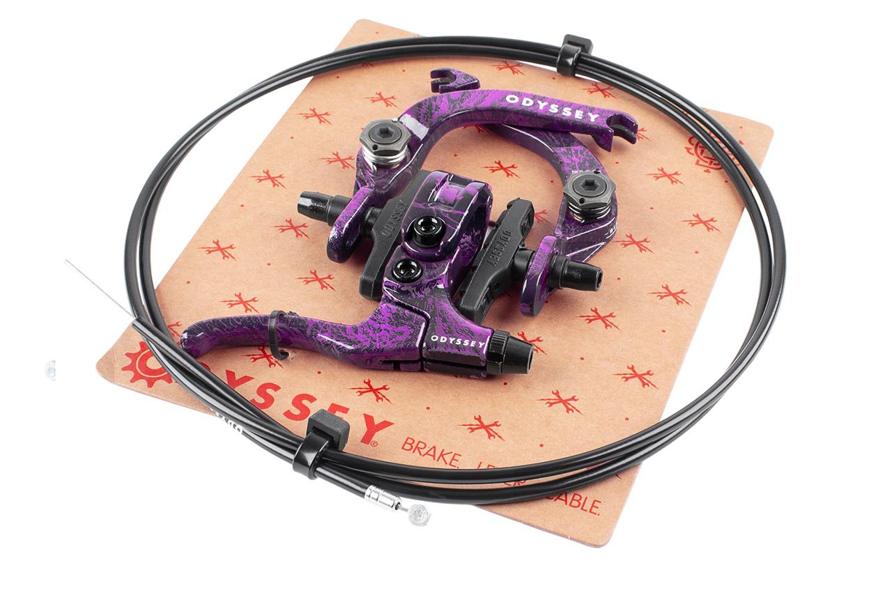 Odyssey BMX Evo 2.5 Brake Kit (Limited Edition Purple Rain Colorway: Jetzt mit mehr Platz für breite Reifen |sowohl als Vorderrad- als auch als Hinterradbremse verwendbar |alle notwendige Hardware im Lieferumfang inbegriffen