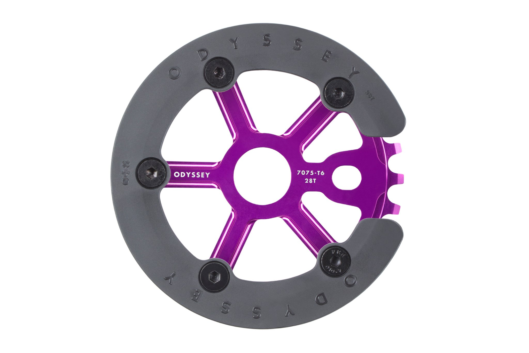 Das neue Odyssey BMX Utility Pro Sprocket in Anodized Purple mit schraubbaren Guard aus Kunststoff ist auch in 28T erhältlich