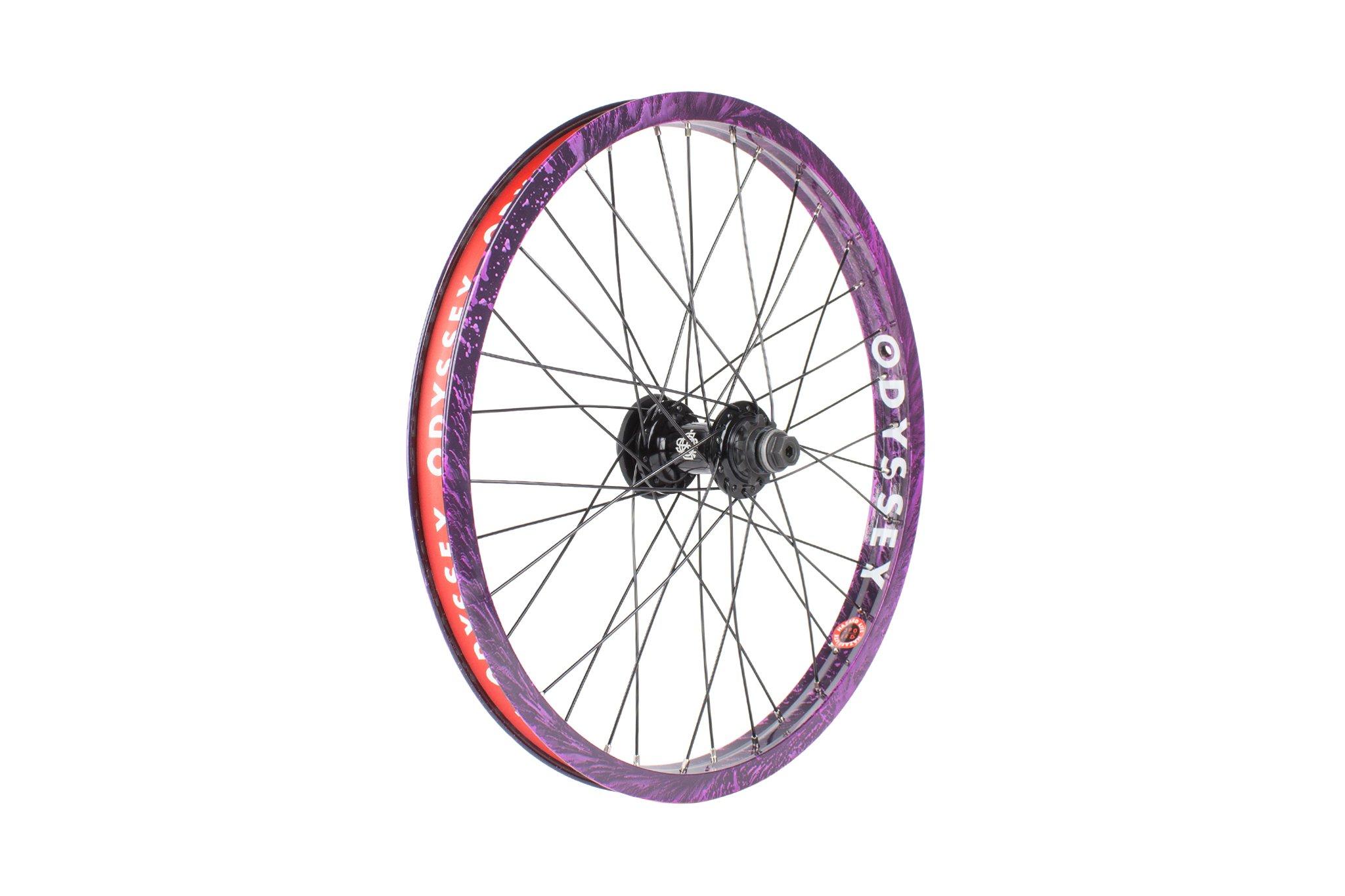 Odyssey BMX Hazard Lite Cassette Wheel im Limited Edition Purple Rain Colorway mit Antigram V2 Cassette Hub und Hazard Lite Rim