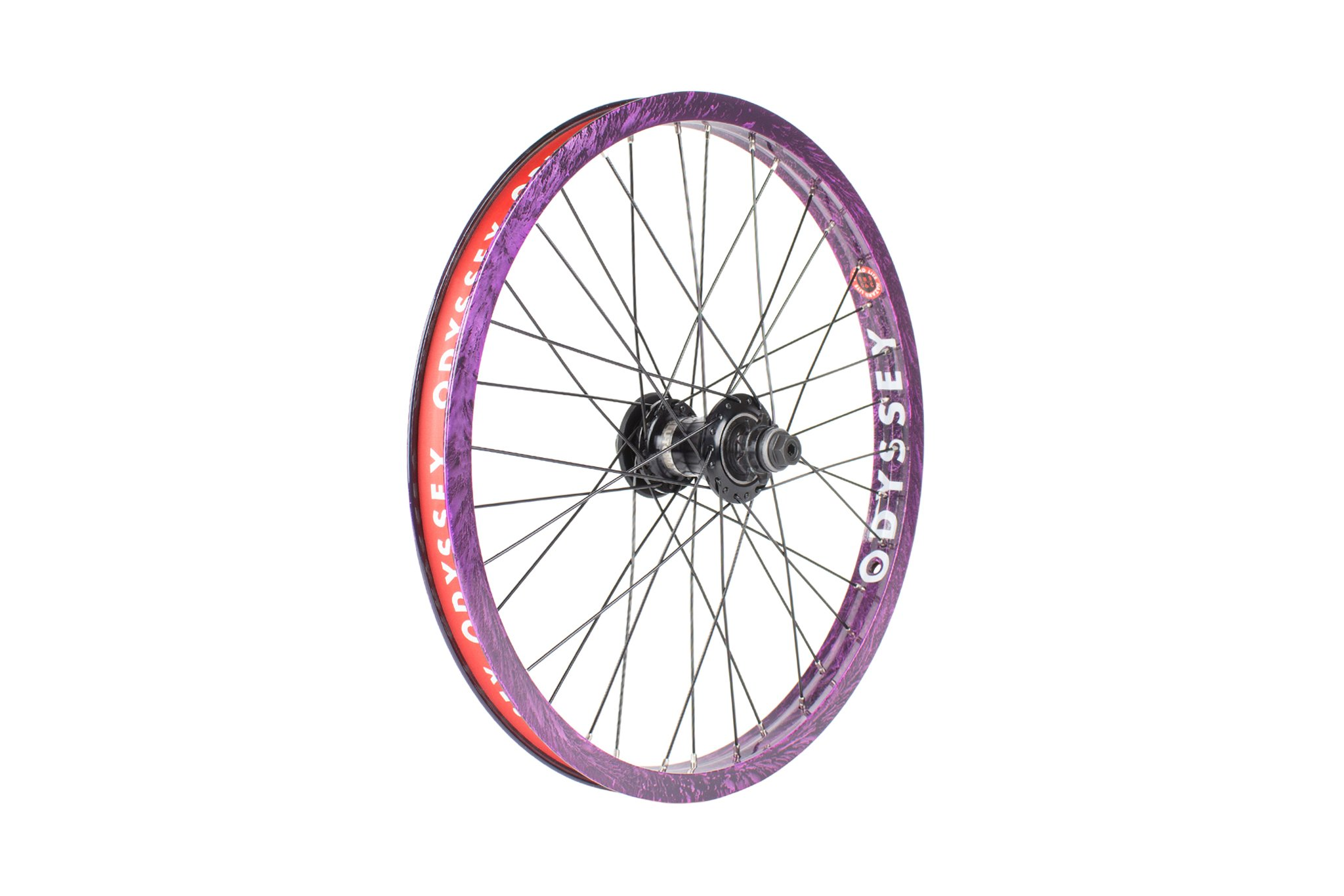 Odyssey BMX Hazard Lite Freecoaster Wheel im Limited Edition Purple Rain Colorway mit Clutch V2 Freecoaster Hub und Hazard Lite Rim