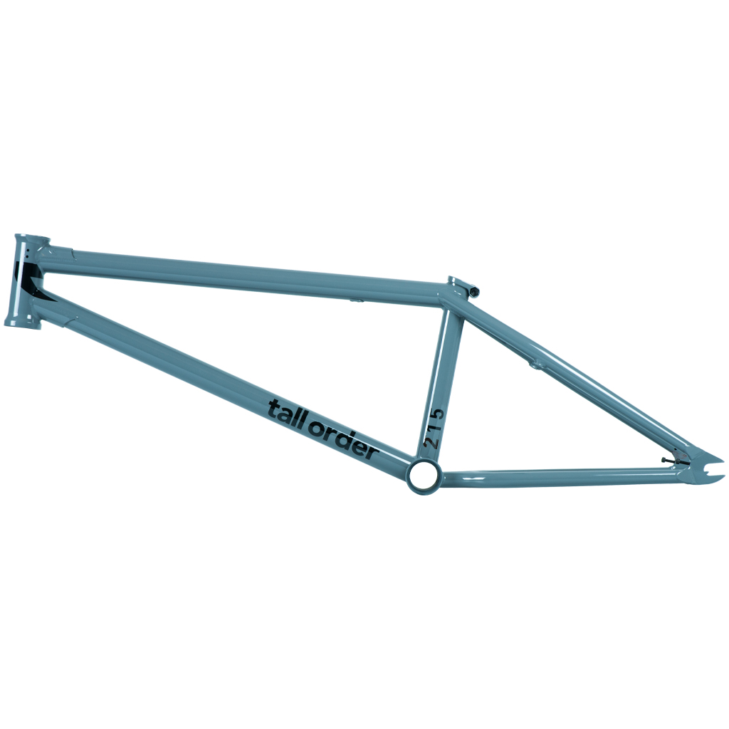 Tall Order 215 V3 Frame in grau glänzend Material: 100 % 4130 Chromoly | Oberrohrlänge: 20,6'' oder 21'' |Kettenstrebenlänge: 13,5'' |Steuerrohrwinkel: 75° |Sattelrohrwinkel: 71° |Tretlagerhöhe: 11,6'' |Rahmenhöhe (Standover): 8,8'' | Ausfallenden: 6 mm mit integrierten Kettenspannern |Extras: Ober- und Unterrohrgusset, integrierter Steuersatz, S-Bend-Kettenstreben, integrierte Sattelklemme (Investment Cast) und schraubbaren Bremssockeln Farbe: grau glänzend |Gewicht: 2,33 kg