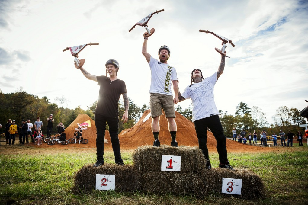 Red Bull Dreamline 2014 Podium (v.l.n.r): James Foster (2. Platz), Ryan Nyquist (1. Platz), Kyle Baldock (3. Platz); Foto: Red Bull