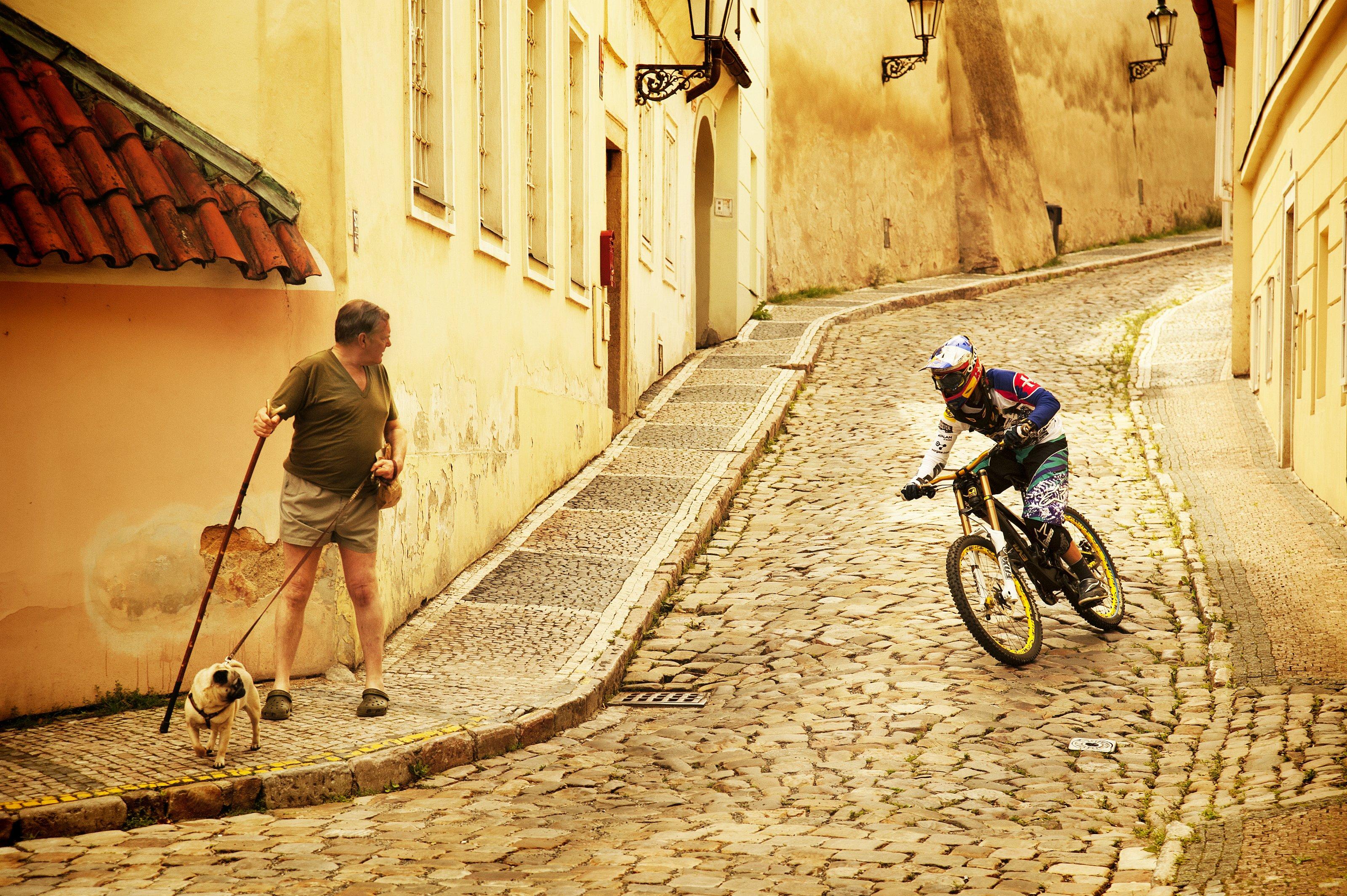 Vorsicht, Filip Polc! Fußgänger mit Hund; Foto: Red Bull