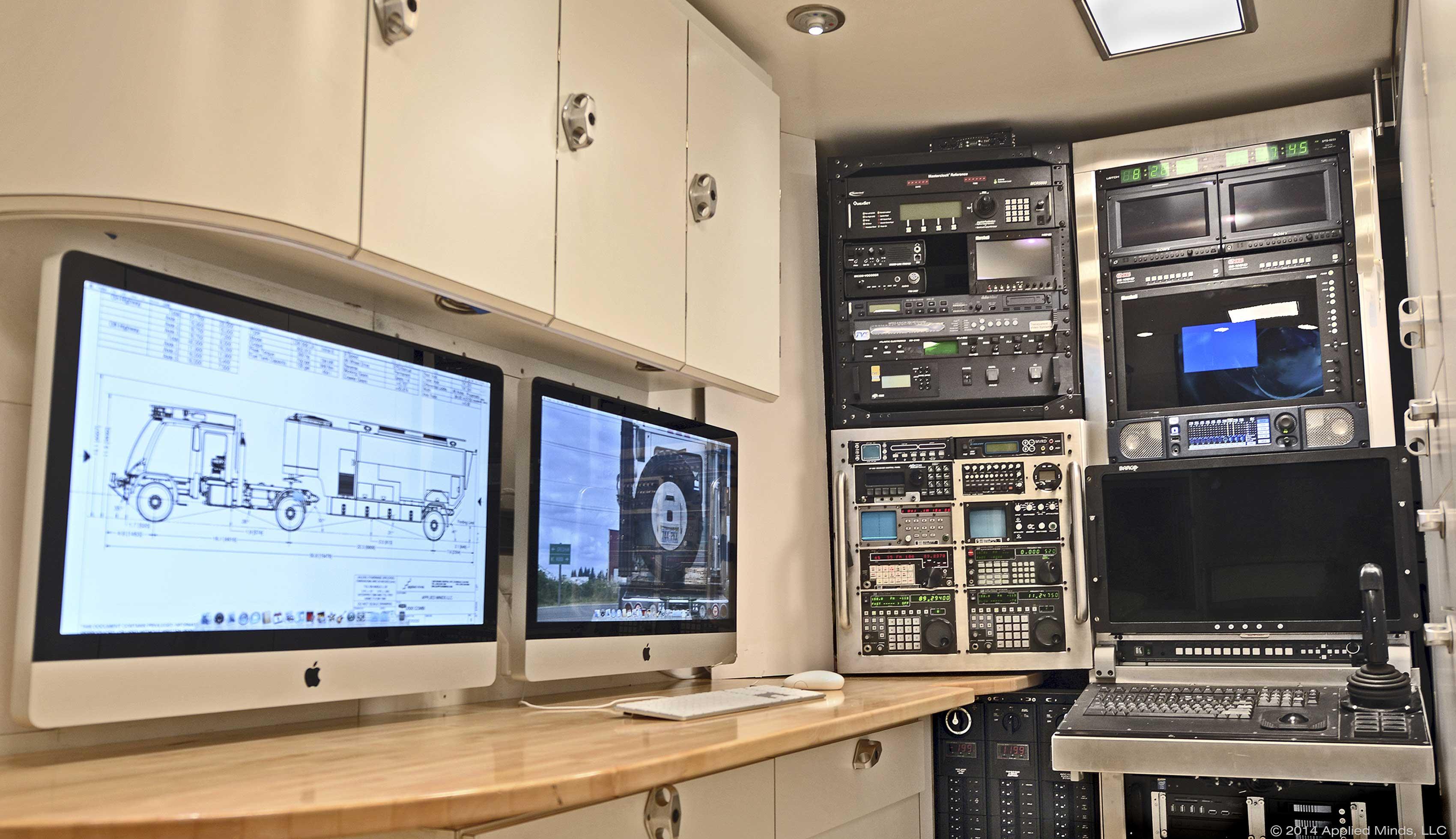 The media centre in the trailer