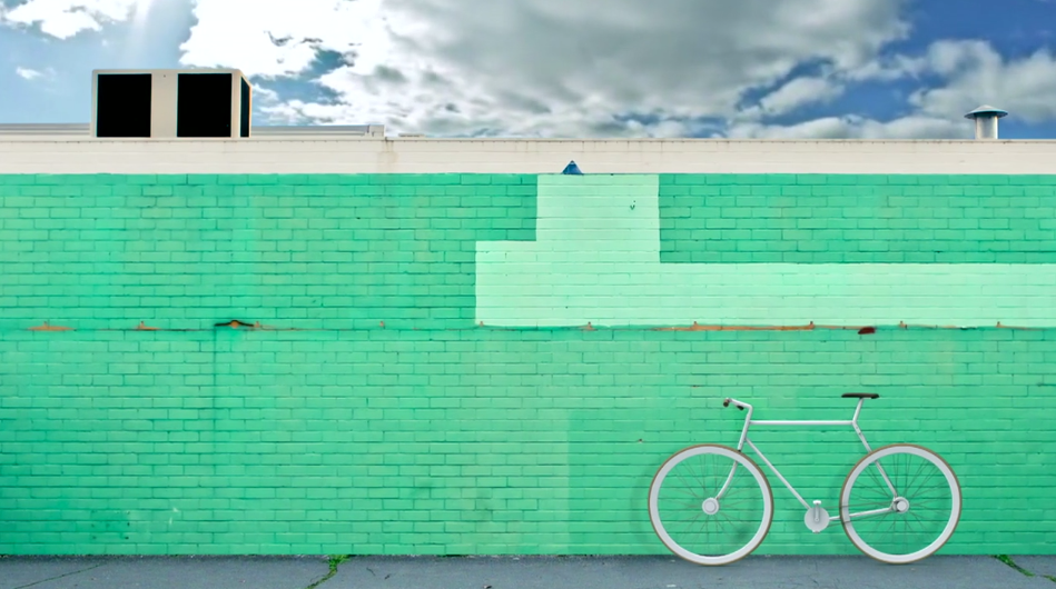 This is how the bike might look on the roof of some hipster design agency office.
