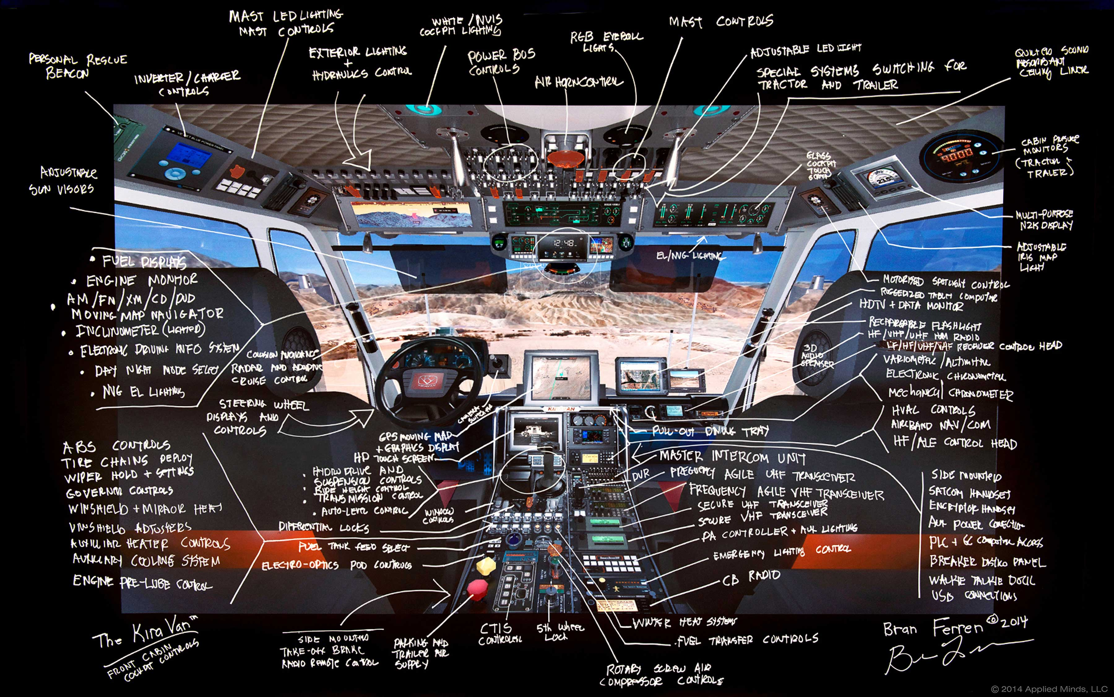 A cockpit view complete with inventor Bran Ferren's annotations.