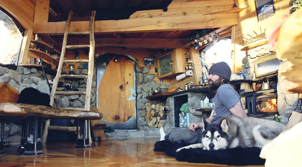 Mike Basich has traded a 4,000 square-foot house for a tiny place in the mountains... Photo: YouTube/Screenshot
