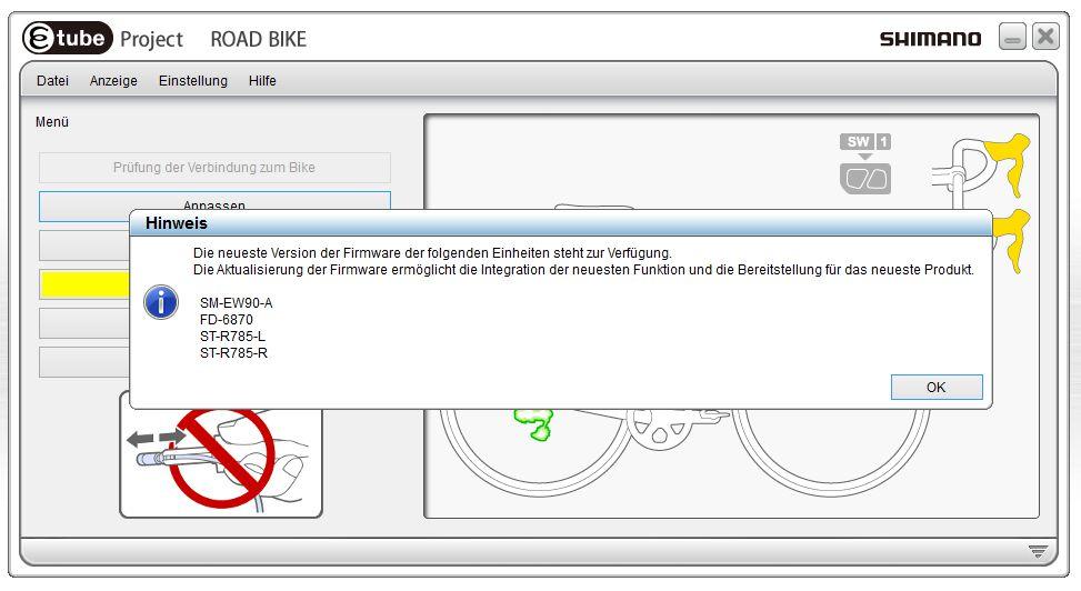 Auch der Unterverteiler, die beiden STI-Griffe und der Umwerfer können an unserem Testrad aktualisiert werden.