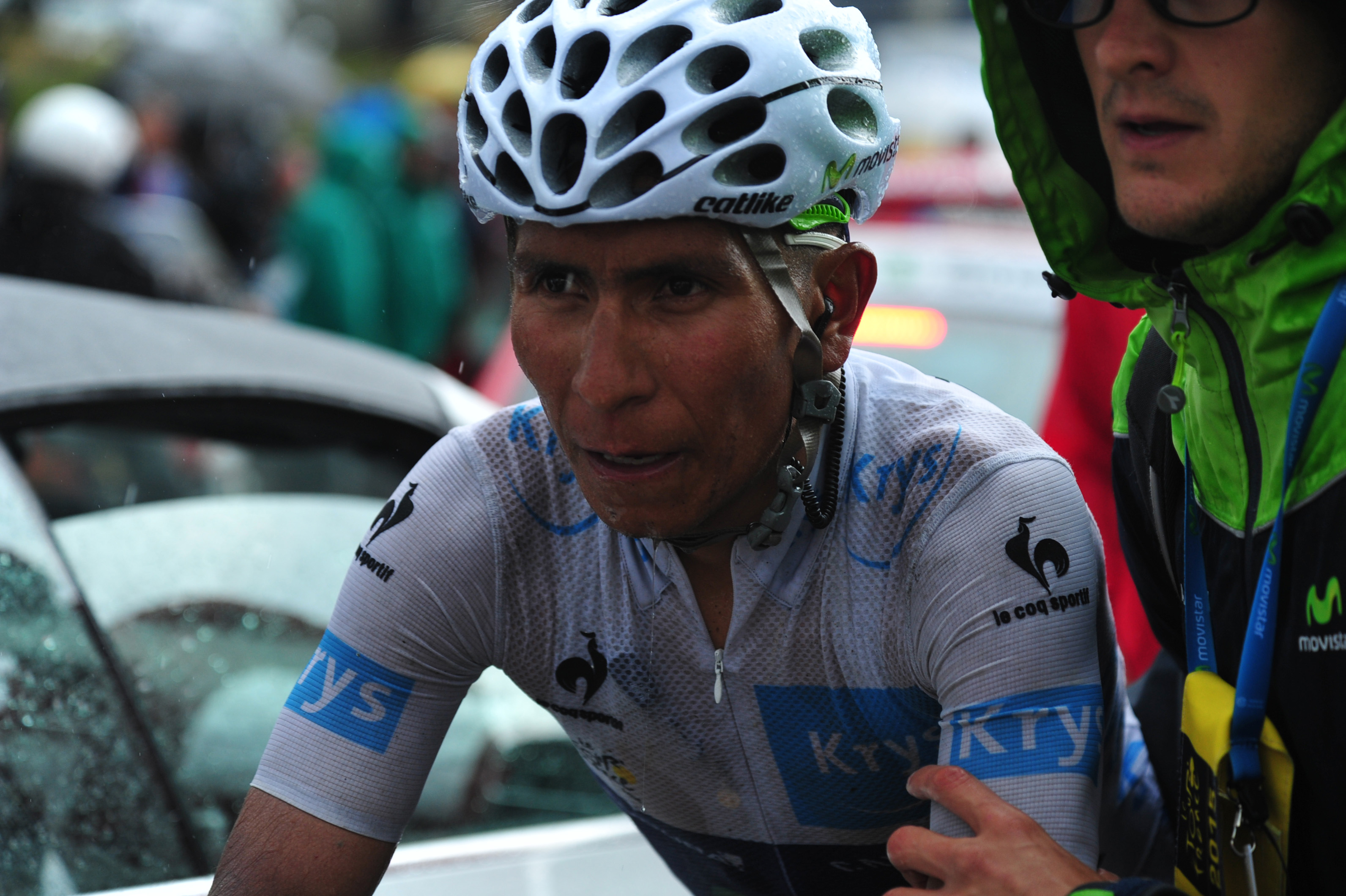 Nairo Quintana zeigte während der 12. Etappe der Tour de France 2015 ein Lebenszeichen. Es scheint fast so, als ob er der einzige der vier Titanen ist, der Froome im Moment das Wasser reichen kann. (pic: Sirotti)