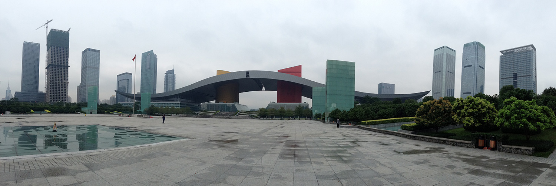 Shenzhen Museum und Vorplatz. Alles ist groß, alles ist Marmor!