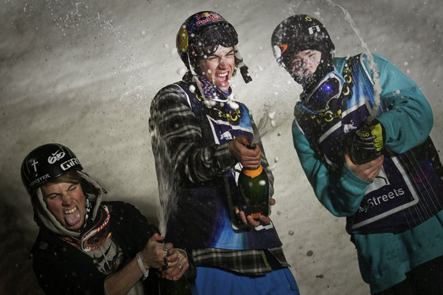 Elias Ambuehl (CH) (1st), Antti Ollila (FIN) (2nd), and Joshua Wells (NZ) (3rd) winning at Red Bull Playstreets in Bad Gastein, Austria on February 19th 2011 // Jörg Mitter/Red Bull Content Pool // P-20120217-83482 // Usage for editorial use only // Please go to www.redbullcontentpool.com for further information. //