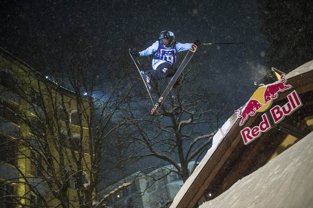 Competitor performs at the Red Bull Playstreets 2013 in Bad Gastein, Austria on 23rd of February 2013