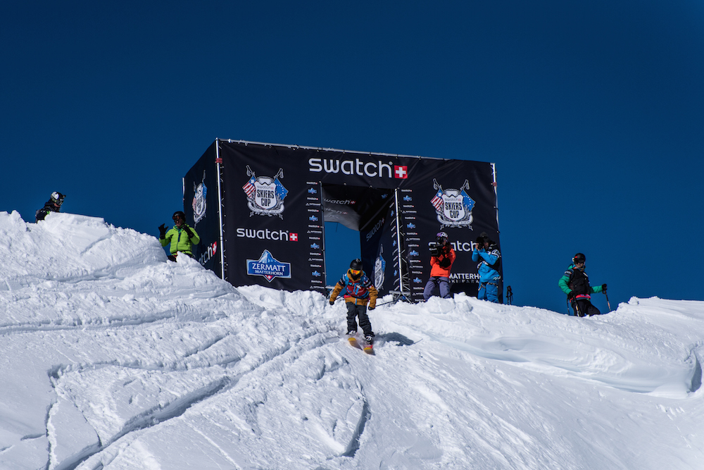 The Swatch Skiers Cup, the first-ever continental team freeski event, Zermatt / Switzerland - February 2015. 18 of the world's best freeskiers competing in both Big Mountain and Backcountry Slopestyle to bring back home the treasured Swatch Skiers Cup trophy.   The 2 teams of 9 Riders, led by captains Seth Morrison - USA (Team Americas) and Julien Regnier - FRA (Team Europe), will battle in a series of man-to-man duels in the Swiss Alps. A rider winning his duel scores one point for his team and the team with the most points at the end of the 2-day competition gains possession of the Swatch Skiers Cup trophy for one year.
