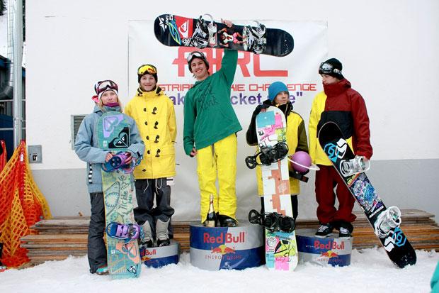 Die Gewinner der Austrian Rookie Challenge 2011: v.l.n.r.: Lea Baumschlager (Alton), Jesse Augustinus (The Program), Felix Georgii (Rome), Marvin Salmina (Atomic), Luca Schranz (Bonfire)