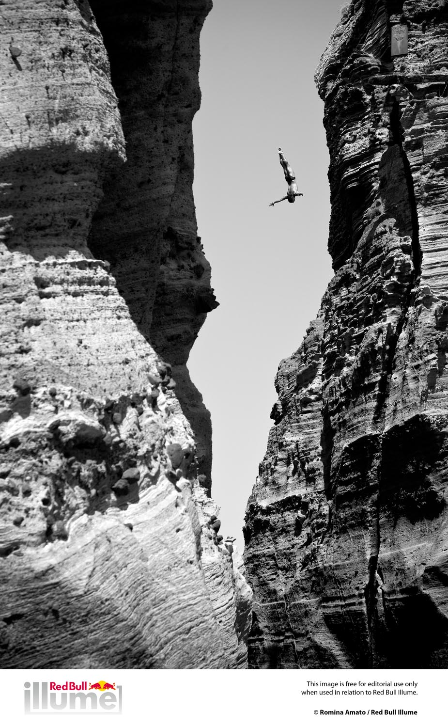 Todor Spasov of Bulgaria dives 29 metres from the rock monolith during the first training session of the third stop of the Red Bull Cliff Diving World Series, Islet Vila Franca do Campo, Azores, Portugal on July 19th 2012.