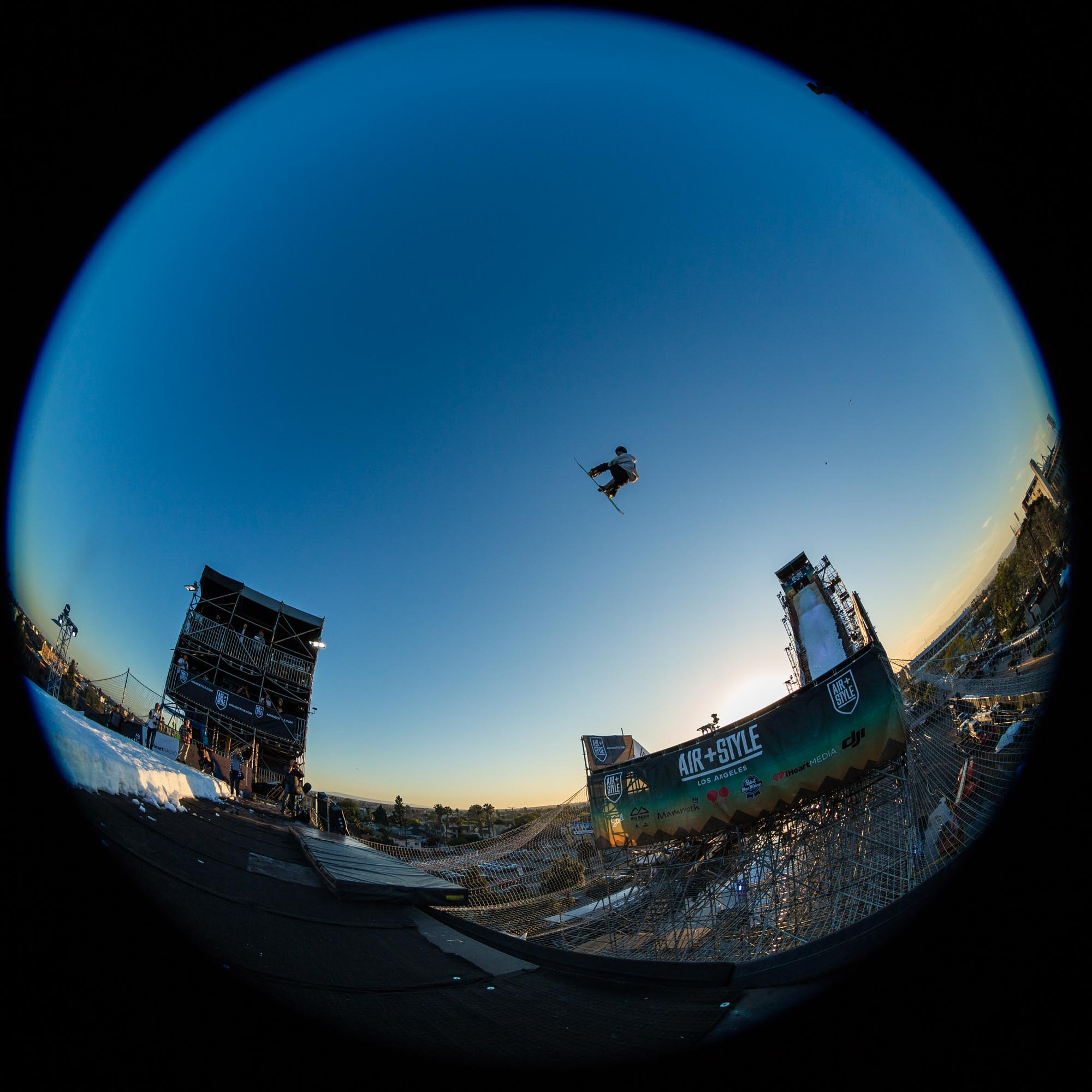 Mathias Weissenbacher competes at Air + Style, held at EXPO Park at the Coliseum in Los Angeles, CA, USA on 20 February, 2016.