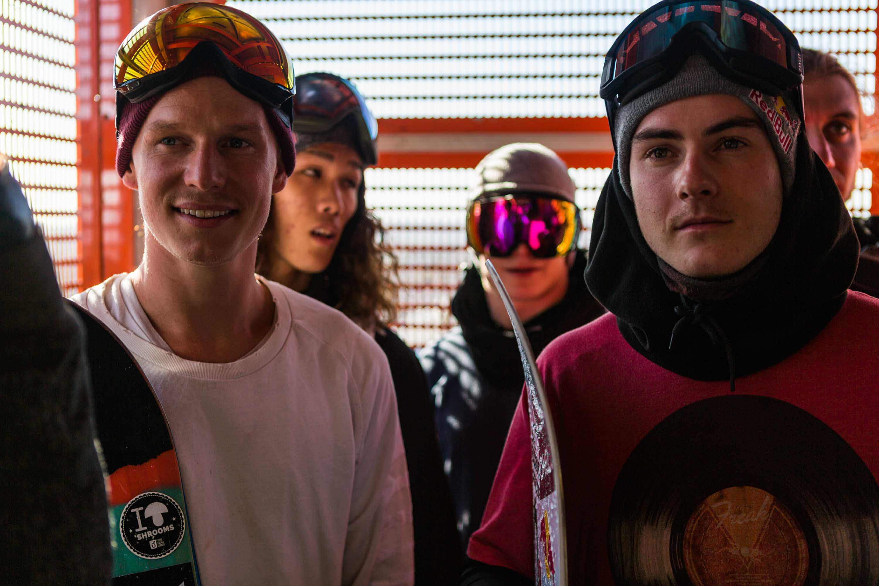 Riders take the elevator to the top of the ramp at Air + Style, held at EXPO Park at the Coliseum in Los Angeles, CA, USA on 20 February, 2016.