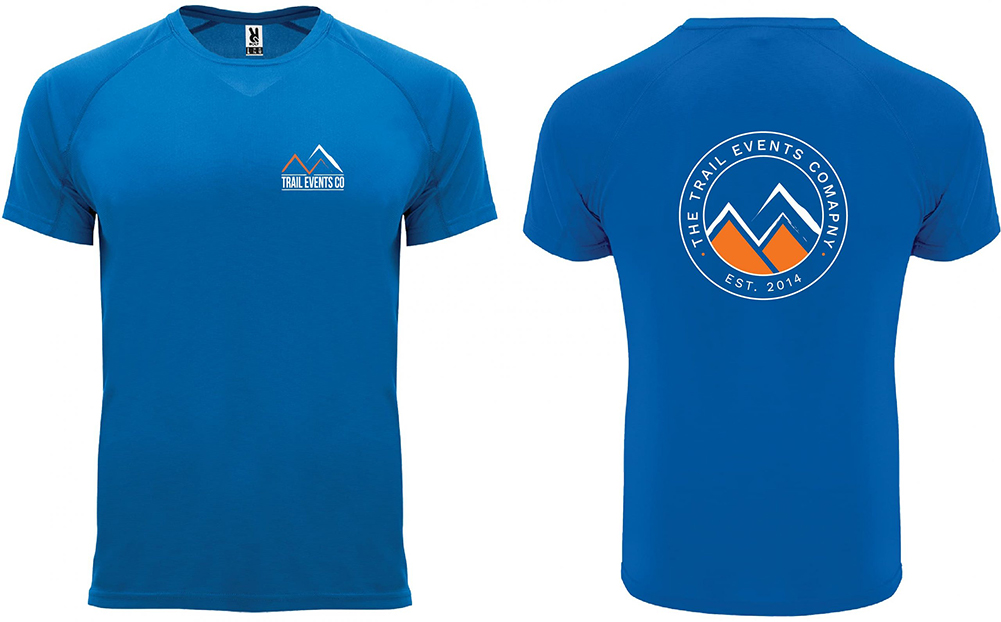 THE TRAIL EVENTS LOGO 'ESTABLISHED 2014' TECHNICAL TEE Blue