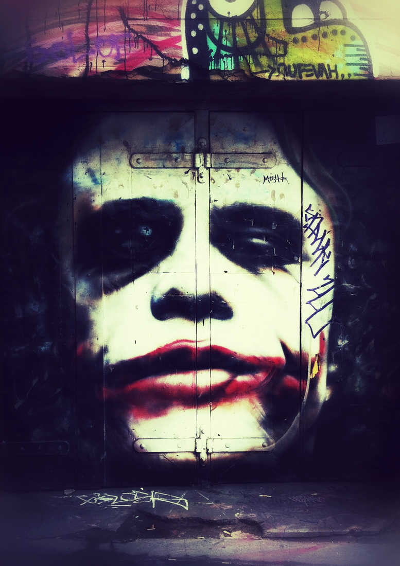 Heath Ledger As The Joker From Batman As Street Art Created By