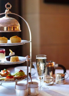 Afternoon Tea with a Glass of Champagne