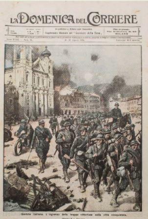 Una delle vignette di Achille Beltrame sulla Prima guerra mondiale