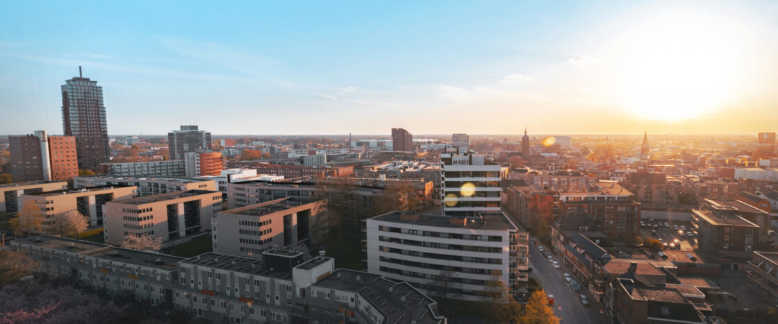 Enschede skyline sunset