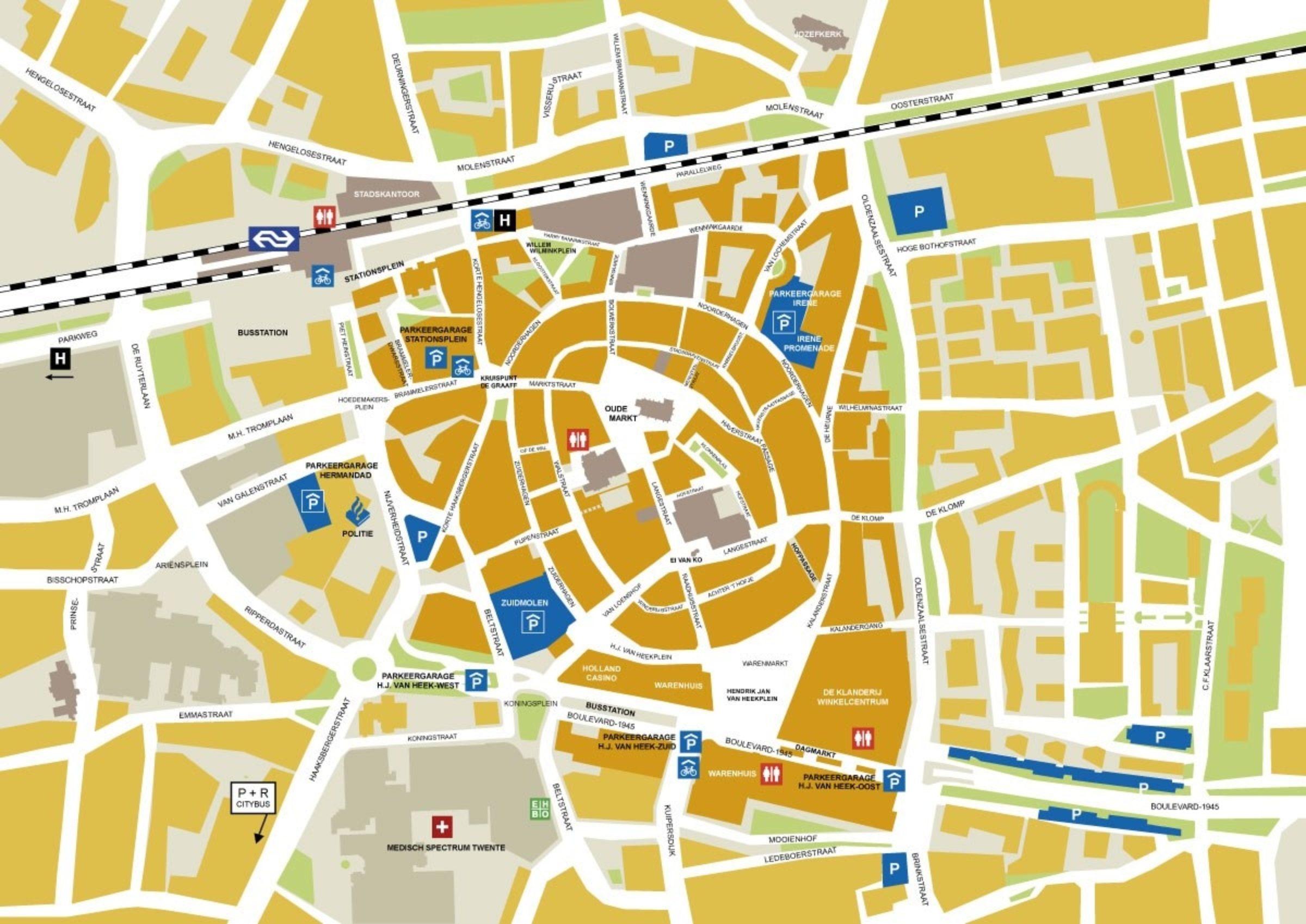 Plattegrond Binnenstad Enschede