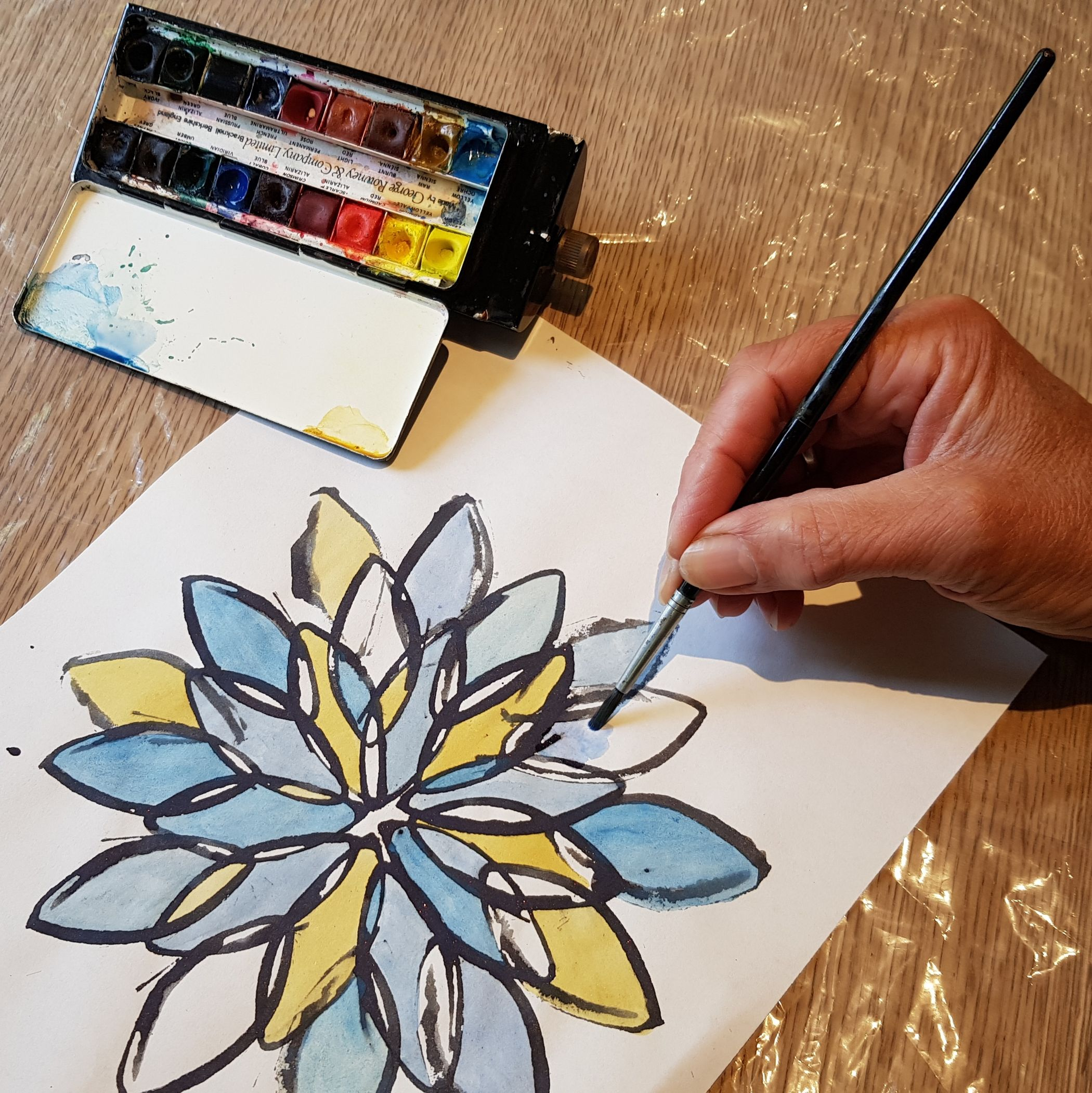 Print and paint a bold flower