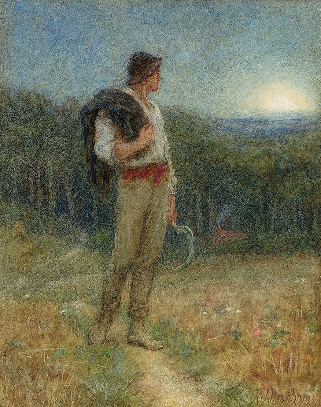 Helen Allingham, Harvest Moon, 'Globed in Mellow Splendour'