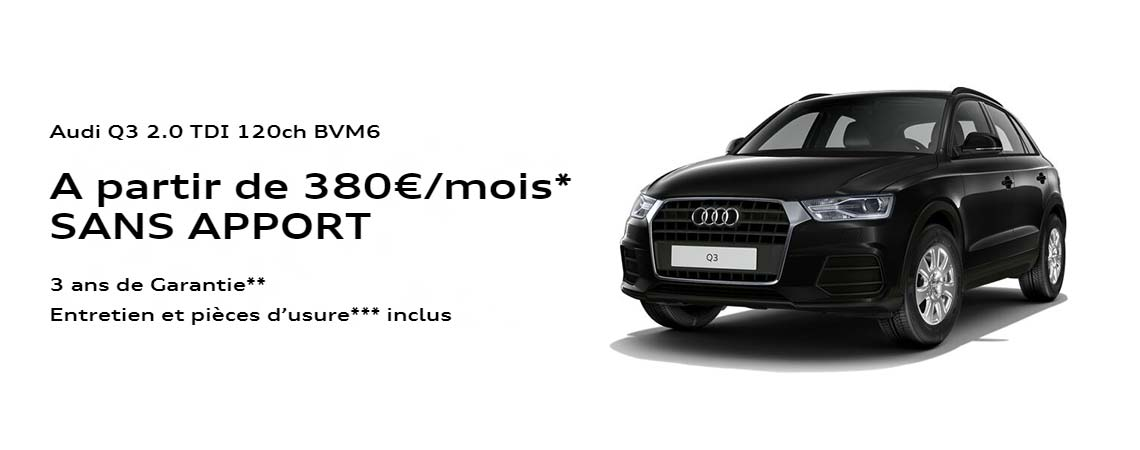 audi q3 partir de 380 mois promotions chez votre. Black Bedroom Furniture Sets. Home Design Ideas
