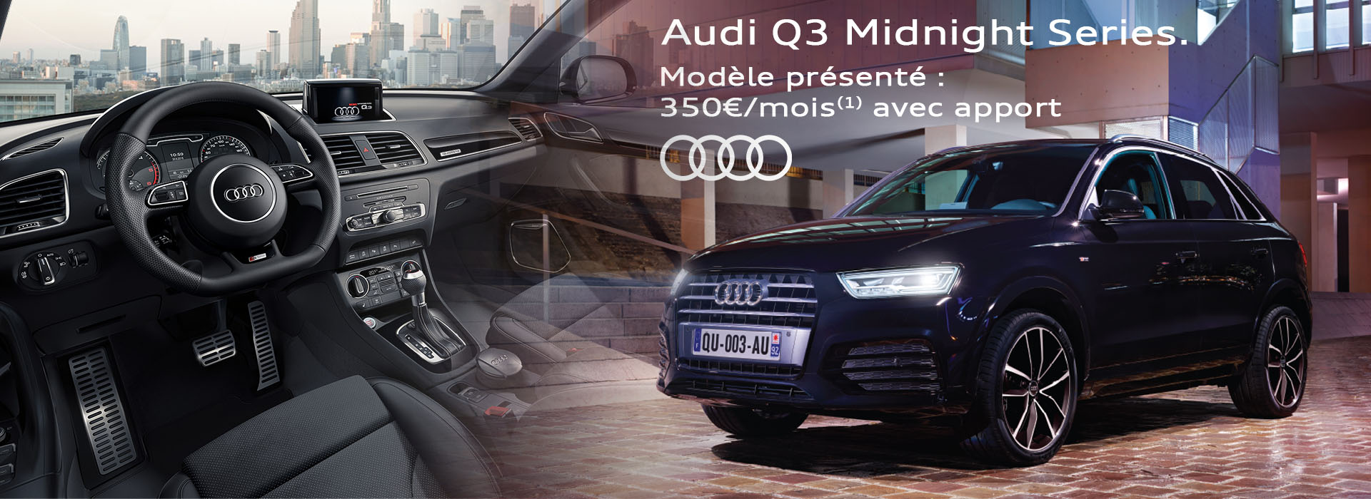 audi q3 midnight series promotions chez votre concessionnaire audi chartres olympic auto. Black Bedroom Furniture Sets. Home Design Ideas