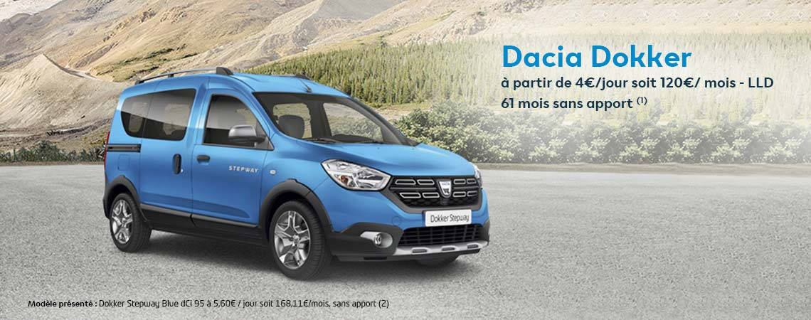 dacia dokker partir de 4 jour soit 120 mois lld 61 mois sans apport 1 promotions chez. Black Bedroom Furniture Sets. Home Design Ideas