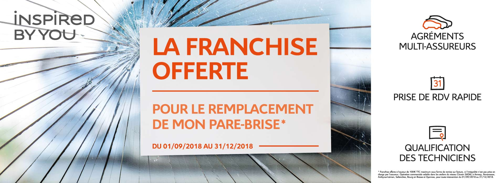 franchise offerte pour le remplacement de votre pare brise promotions chez votre. Black Bedroom Furniture Sets. Home Design Ideas
