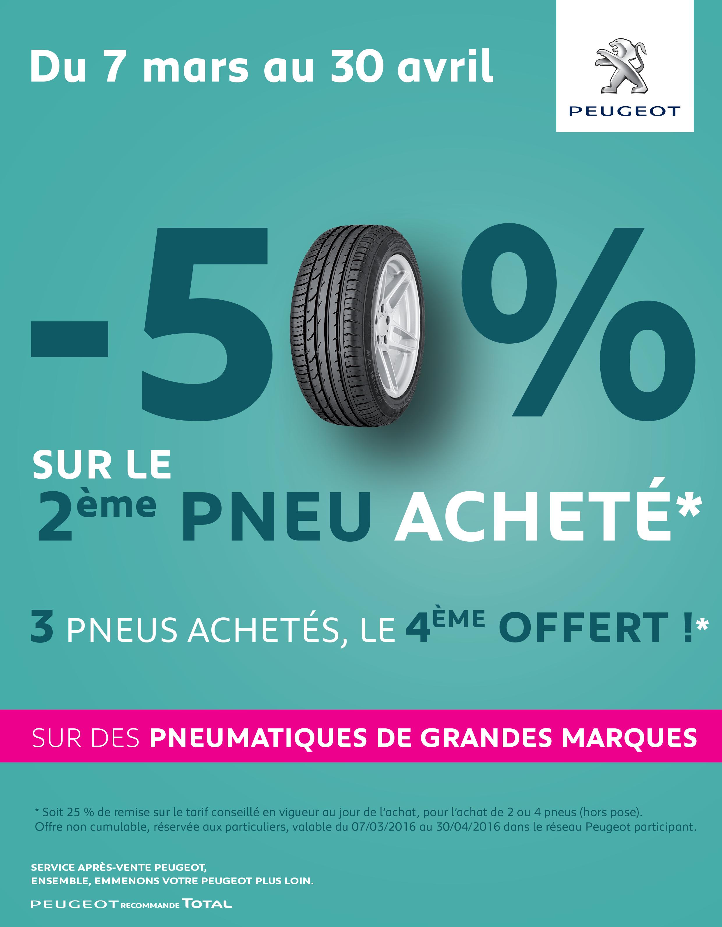 Peugeot Promo Pneu : 1 pneu achet 50 sur le 2 me pneu achet peugeot angouleme ~ Nature-et-papiers.com Idées de Décoration