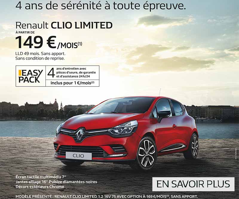 promotion clio limited octobre novembre 2017 renault saint germain en laye. Black Bedroom Furniture Sets. Home Design Ideas