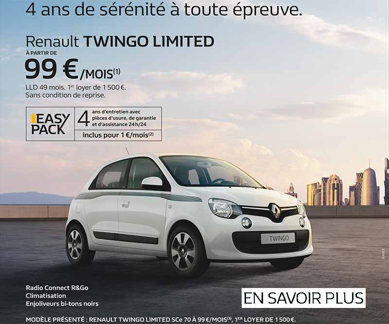promotion twingo limited octobre novembre 2017 renault. Black Bedroom Furniture Sets. Home Design Ideas