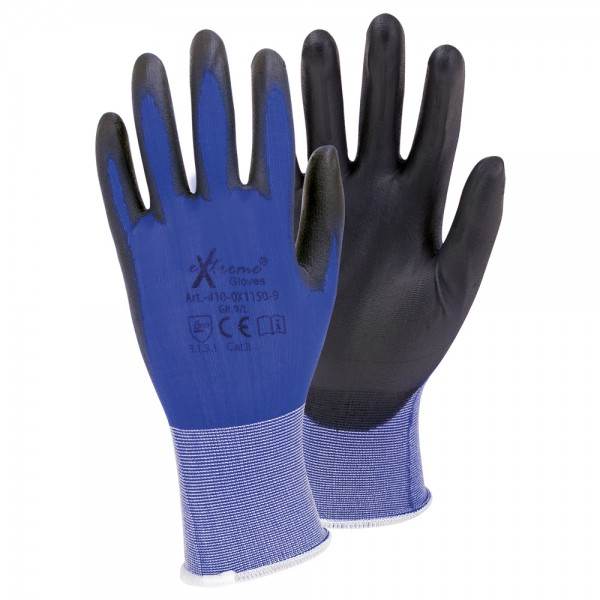 "Nylon-Montagehandschuhe ""ultra-pu blue"" eXtreme gloves®"