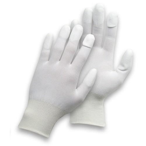 Nylon-Feinstrickhandschuhe weiß - PU-Fingerkuppen