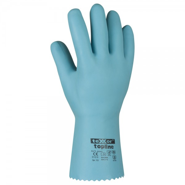 "Latex-Chemikalienschutz-Handschuhe ""S-BLUE"" teXXor®, 10"