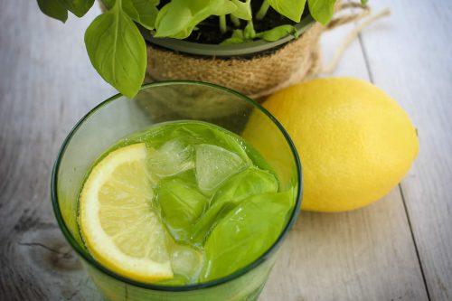 Wasserflasche mit Obst und Kräutern
